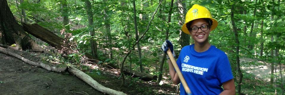 SCA Conservation Leadership Corps Member working a trail with a crew in Pittsburgh