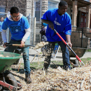 SCA Community crew members working mulch on Earth Day 2013